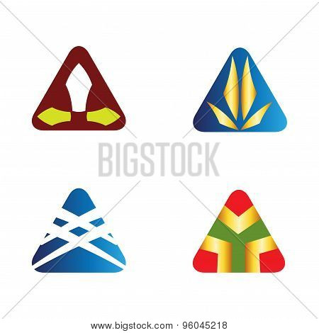 Triangle logo icons set  vector design illustration template