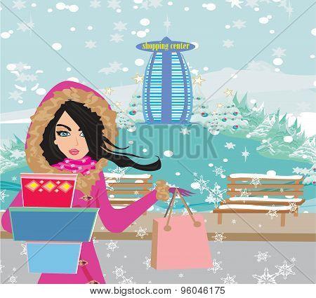 Beautiful Woman Doing The Shopping In Winter