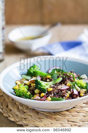 Red Quinoa With Corn And Broccoli Salad
