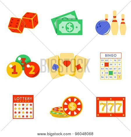 Lottery flat icon set