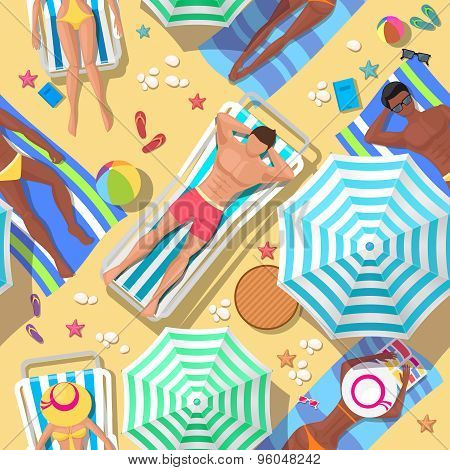 Beach holidays seamless background