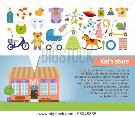 Kids shop. Childrens clothing and toys