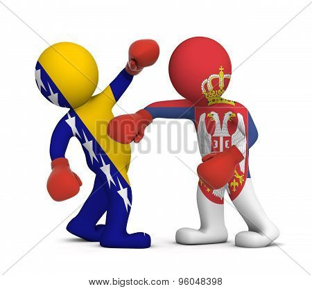 3d people boxing - Bosnia and Herzegovina against Serbia