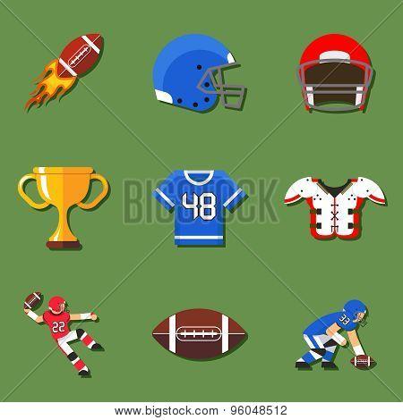 American football flat icons set