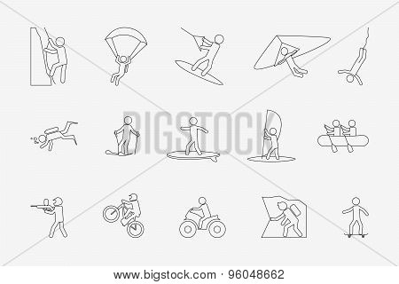 Extreme sports or outdoor activity in line style