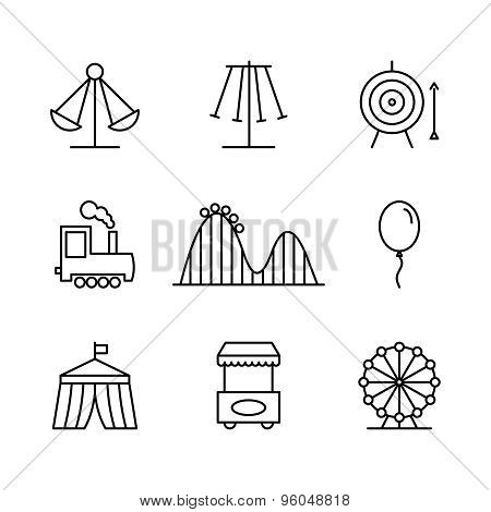 Amusement park icons in thin line style