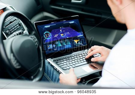 transport, modern technology and people concept - man using navigation system on laptop computer in car