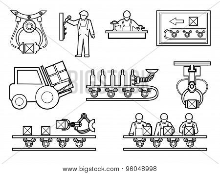Industrial and manufacturing process icons set in line art style