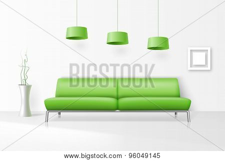 White interior with realistic sofa