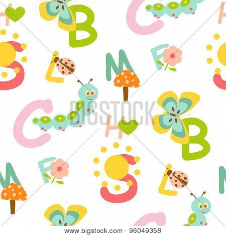 Seamless kids alphabet pattern