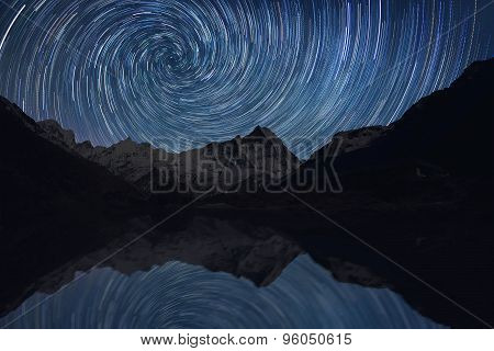 Startrails over the mountains