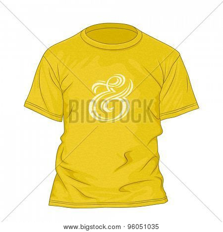 T-shirt design template with texture and ampersand hand lettering. Yellow t-shirt with ampersand symbol. Vector illustration