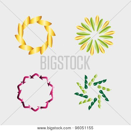 Circular logo template set vector design abstract