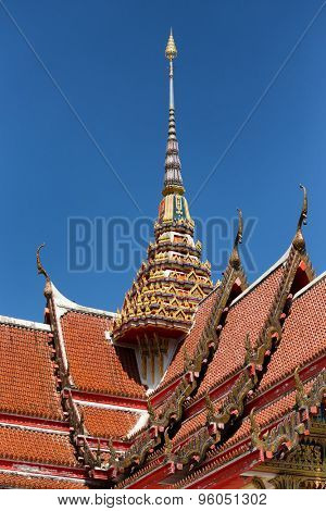 Spire and roof of the Wat Chalong Buddhist temple in Chalong, Phuket, Thailand