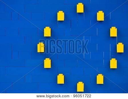 Sofia, Bulgaria - July 16, 2015: Plastic block pieces in planar structure of European Union symbol