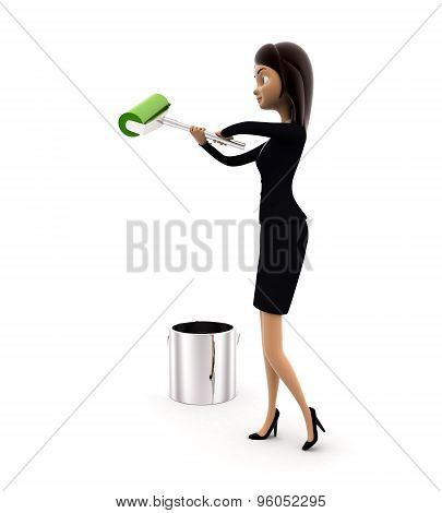 3D Woman With Green Color Paint Bucket And Paint Roller Concept