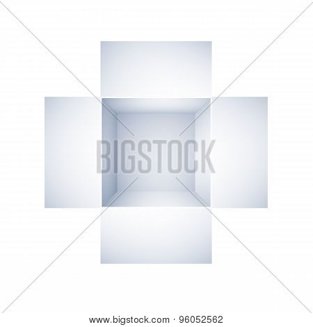 top view of open white box on white background