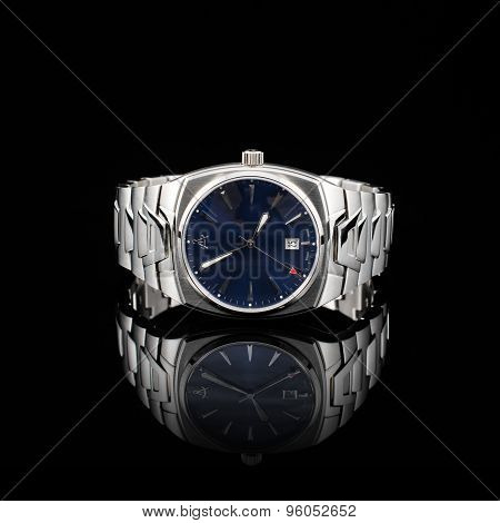 Swiss watches on black background. Product photography.