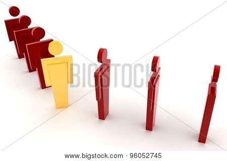 3D Man Standing In Arc With Leader In Middle Concept