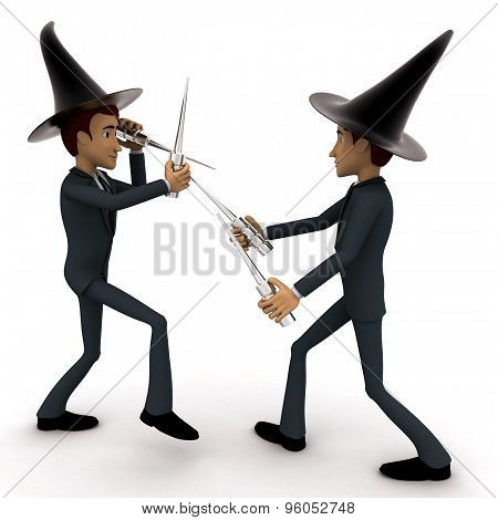 3D Man Magician Fight With Sticks Concept