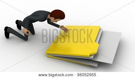 3D Man With Big File Folder Concept