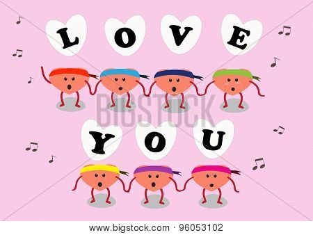Heart Cartoon Sing Love You