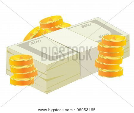 Pack of the money and coins
