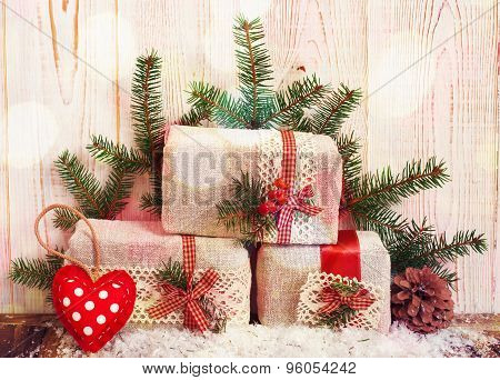 Christmas Gift Boxes Fir Branches For New Year On Wood Table