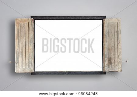 Old Wooden Windows Frame On Cement Wall With Empty Space