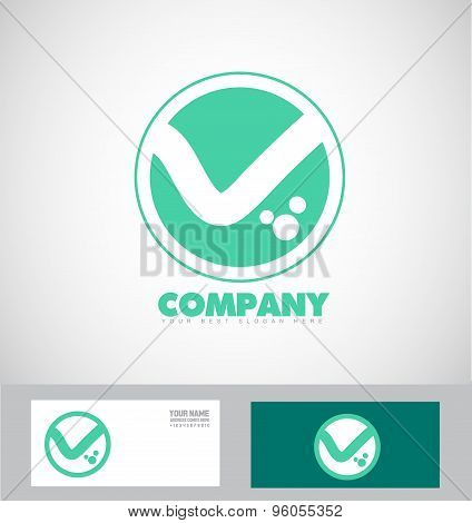 Flat Letter V Logo Green Abstract Icon Set