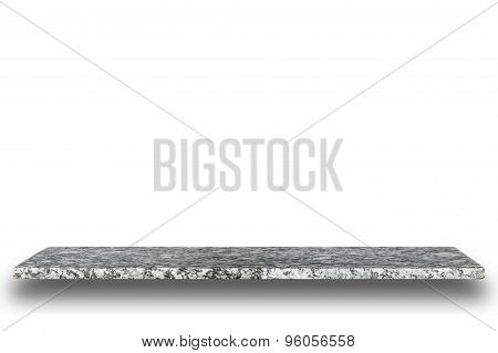 Empty Top Of Natural Stone Table Or Counter Isolated On White