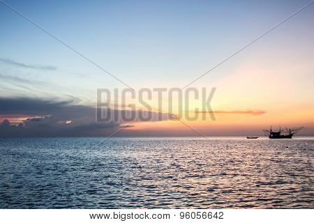 Long-tailed Boat And Sunset At Sea, Koh Phangan,surat Thani, Thailand