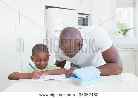 Father with his son working in the kitchen