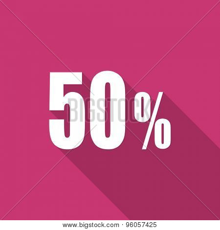 50 percent flat design modern icon with long shadow for web and mobile app