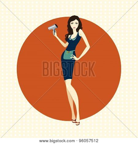 Girl hairdresser with dryer