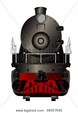 Front view of a old steam locomotive