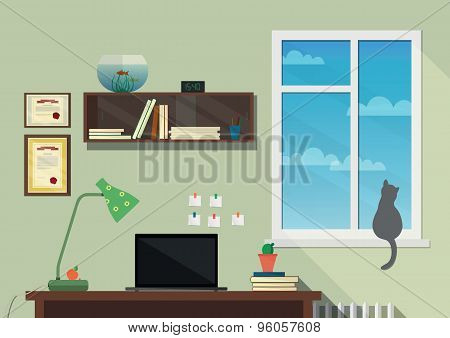 Flat design illustration of the modern workplace