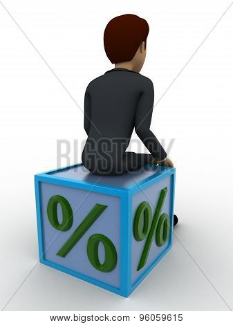 3D Man Sitting On Percentage Cube Concept