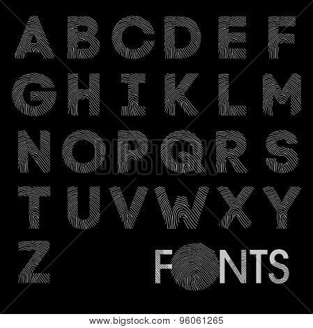 Finger print bold alphabet best font vector