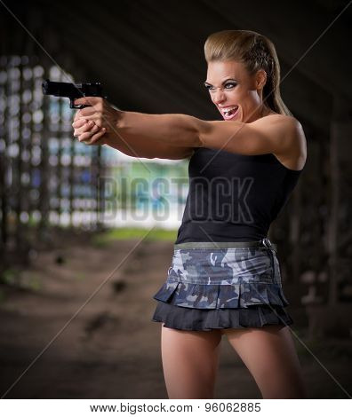 Young woman in uniform with gun (normal version)