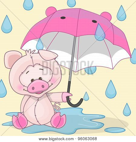 Pig With Umbrella