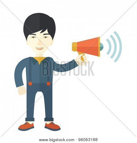 A businessman in the field holding a megaphone use to communicate with his employee. A Contemporary style. Vector flat design illustration isolated white background. Square layout