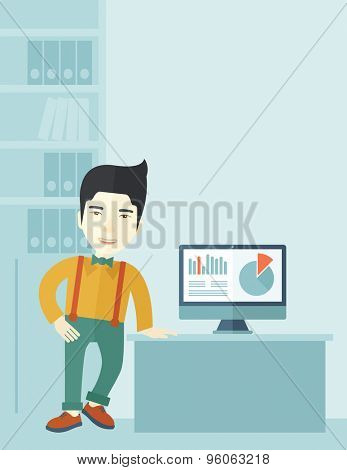 An asian guy standing  while presenting a graph in business from his computer inside his office. Leadership concept. A contemporary style with pastel palette soft blue tinted background. Vector flat