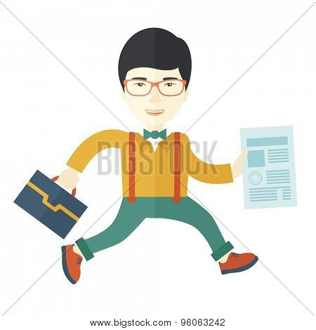 A happy chinese businessman holding a bag and signed contract paper for his business. A Contemporary style. Vector flat design illustration isolated white background. Square layout