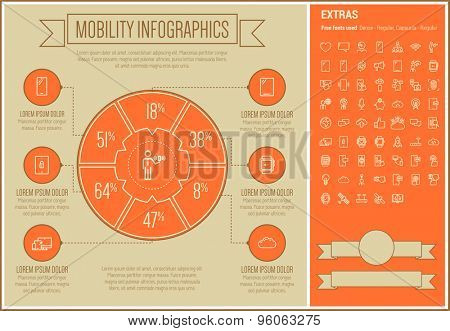 Mobility infographic template and elements. The template includes the following set of icons -wireless wifi, browsing, satellite, radar, smartphone, global head and more. Modern minimalistic flat thin