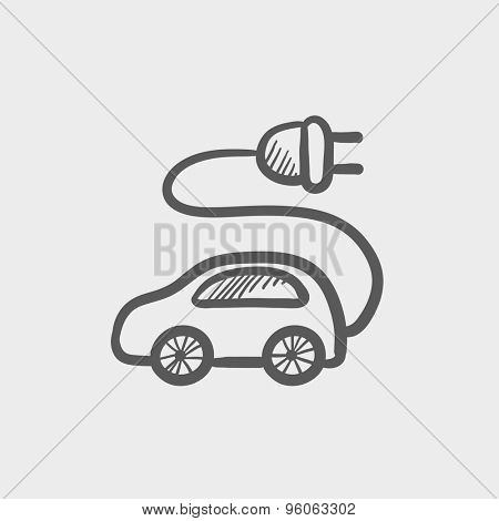 Electric car sketch icon for web and mobile. Hand drawn vector dark grey icon on light grey background.