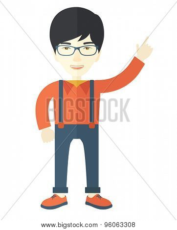 An asian businessman proud of himself being a entrepreneur. A Contemporary style. Vector flat design illustration isolated white background. Vertical layout