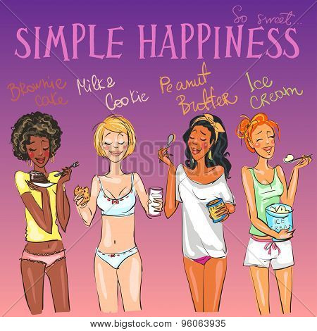 Happy girls enjoying delicious snacks