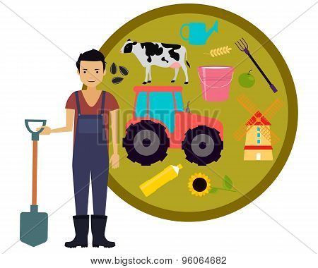 Concept agriculture. Male farmer holding a shovel on the background tractor. Vector illustration