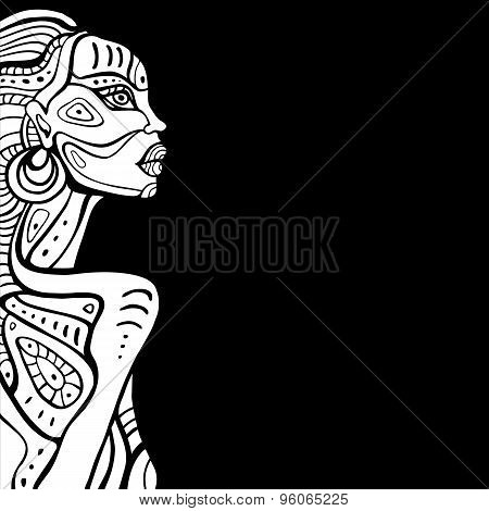 Profile of beautiful African woman.